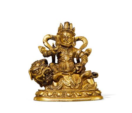 清 中期 铜鎏金财神像
