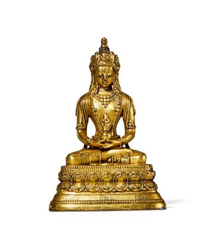 清 中期 铜鎏金佛像