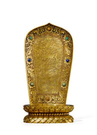 清 中期 铜鎏金佛龛