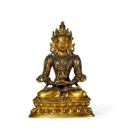 清 乾隆 铜鎏金无量寿佛像