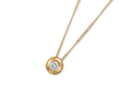鑽石吊咀鑲18K黃金配18K黃金頸鍊(2)
