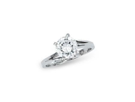 1.41卡拉圓形鑽石戒指鑲14K白金(附GIA證書)
