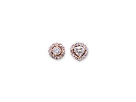 棕粉紅鑽配鑽石耳環鑲18K玫瑰金(2)