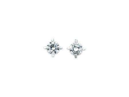 0.75及0.74卡拉圓形鑽石耳環鑲14K白金(2)(附GIA證書)