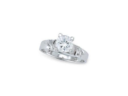 1.03卡拉圓形鑽石戒指鑲14K白金(附GIA證書)