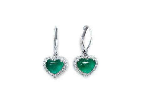 祖母綠配鑽石耳環鑲18K白金(2)