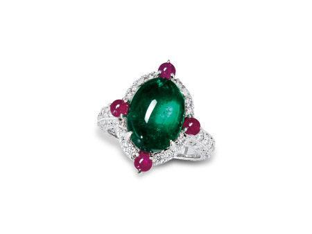 祖母綠配鑽石戒指鑲18K白金