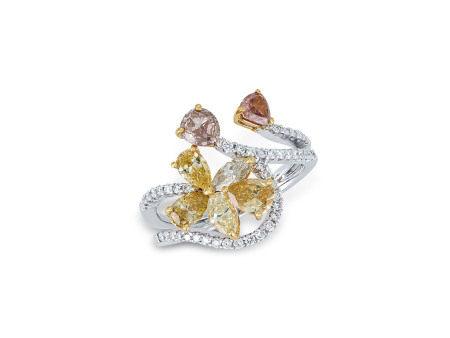 彩鑽配鑽石戒指鑲18K黃白金