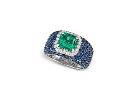 祖母綠、藍寶石配鑽石戒指鑲18K黃白金