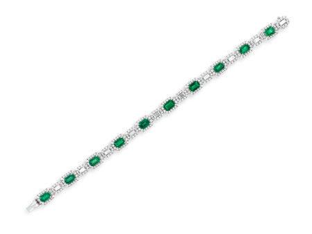 祖母綠配鑽石手鍊鑲18K白金