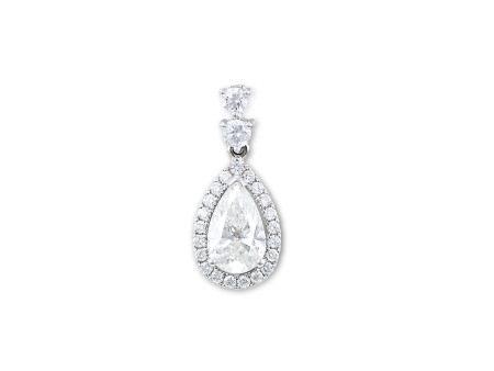 1.49卡拉梨形鑽石配鑽石吊咀鑲18K白金(附GIA證書)