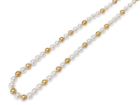 金珍珠及珍珠頸鍊配18K白金扣