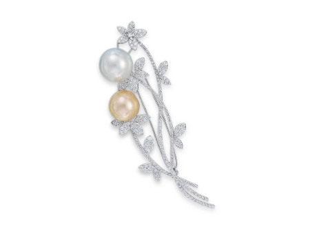 金珍珠、珍珠配鑽石襟針鑲18K白金