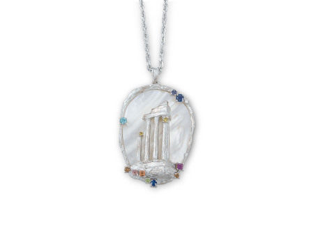 貝殼、彩色寶石配鑽石吊咀鑲鉑金配18K白金頸鍊(2)