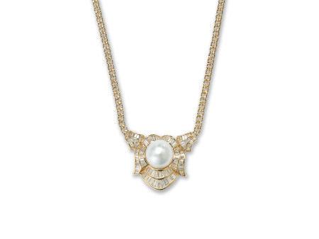 珍珠鑽石吊咀鑲18K黃金配18K黃金頸鍊