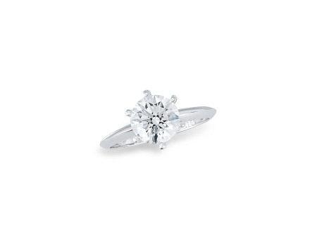 1.63卡拉圓形鑽石戒指鑲18K白金 (附GIA證書)
