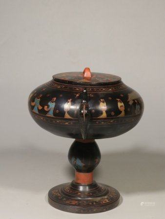 WOOD LACQUER AND PAINTED STEM FOOT CENSER WITH LID