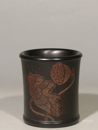 ZITAN WOOD CARVED 'LOTUS FLOWER' BRUSH POT