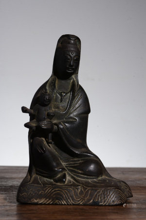 BRONZE CAST 'GUANYIN' SEATED FIGURE