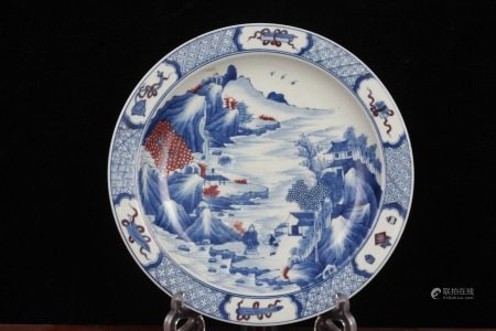QING DYNASTY--BLUE WHITE IRON RED LANDSCAPE PLATE