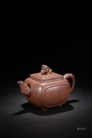 YIXING ZISHA RED CLAY ROUNDED SQUARE 'MYTHICAL BEAST' TEAPOT