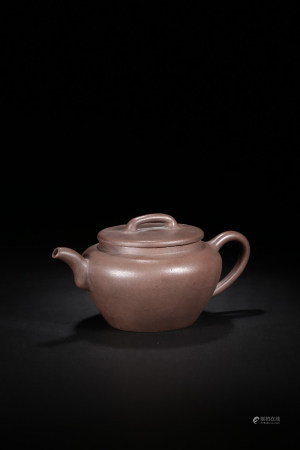 YIXING ZISHA PURPLE CLAY GLOBULAR TEAPOT