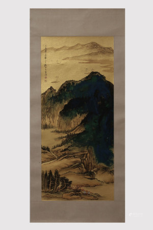 SUN YUNSHENG: INK AND COLOR ON PAPER PAINTING 'LANDSCAPE SCENERY'