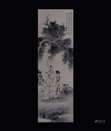 ZHANG DAQIAN: INK AND COLOR ON PAPER PAINTING 'SCHOLARS'