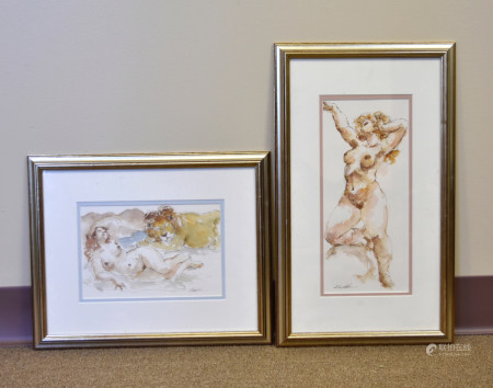 Two Watercolor Paintings, female figure