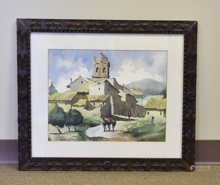 A Watercolor Painting, Carved Wood Frame