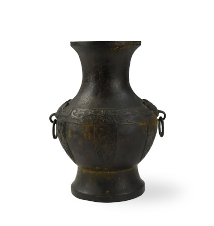 "Chinese Bronze ""Hu"" Shaped Vase, 19th C."