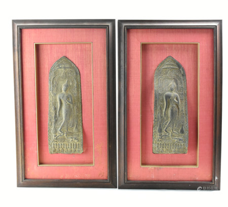 Pair of Framed Bronze Panels of Buddha