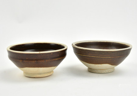Two Chinese Black Glazed White Rim Bowls, Sony D.