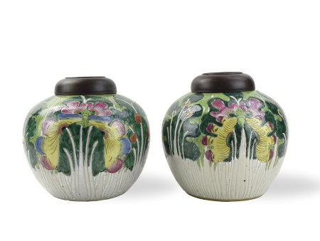 Pair of Chinese Canton Glaze Cabbage Jar,19th C.