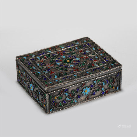 CHINESE SILVER INLAID ENAMELING FLOWER PATTERN BOX