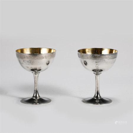 PAIR OF SILVERWARE STANDING CUPS