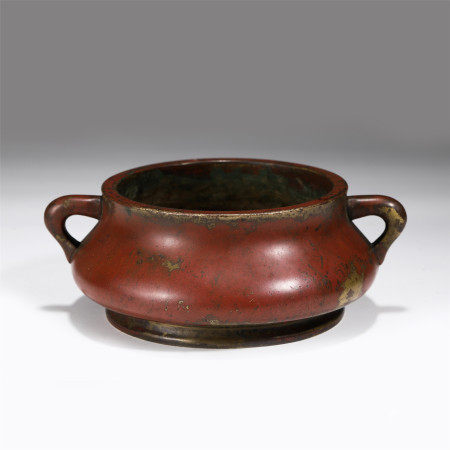 CHINESE DOUBLE HANDLE BRONZE CENSER