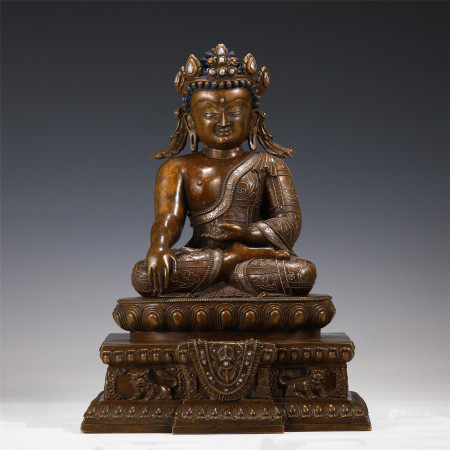 BRONZE INLAID SILVER FIGURE STATUE ON PEDESTAL MING DYNASTY