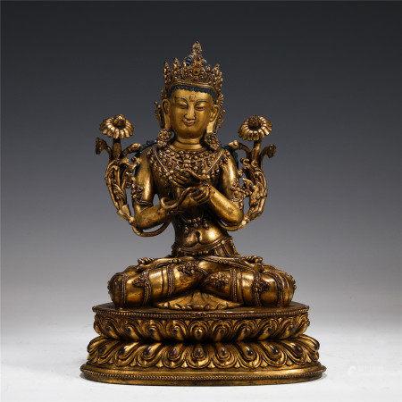 GILT BRONZE LOTUS HAND GUANYIN BUDDHA STATUE MING DYNASTY