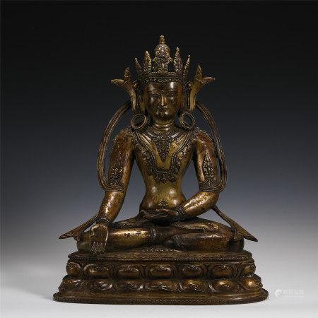 GILDED BUDDHA SEATED ON PEDESTAL