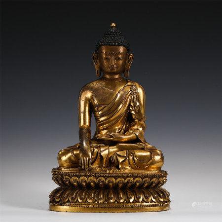 GILT BRONZE SAKYAMUNI BUDDHA STATUE