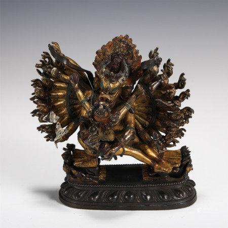 GILDED FIGURE OF THE BUDDHA YAMANTAKA