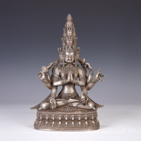 PURE SILVER ELEVEN FACES GUANYIN SEATED STATUE