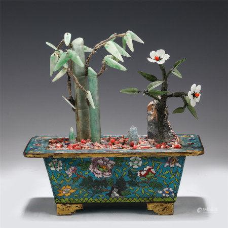 JADEITE BAMBOO AND FLOWER CLOISONNE BONSAI