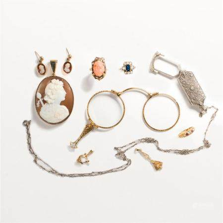 """A group of Late 19th and Early 20th C. jewelry, incl. """"style of"""""""