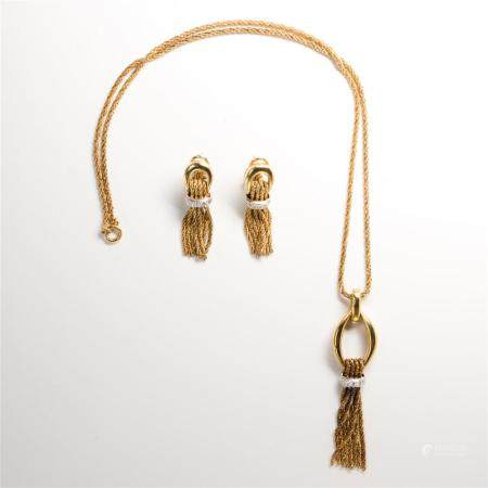 A Retro fourteen karat gold and diamond earring and pendant necklace suite
