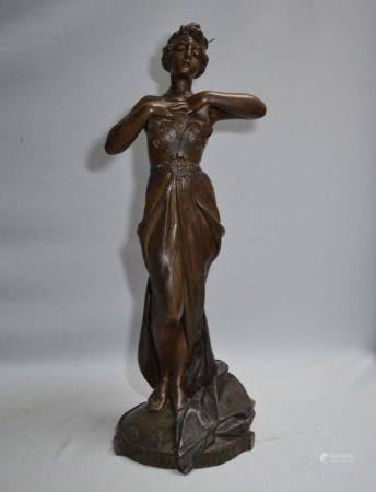 Emmanuel VILLANIS (1858-1914) Nouveau siècle Sculpture en métal, titrée sur la base, non signée