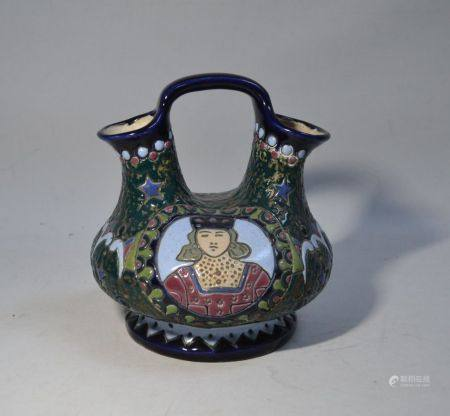 """AMPHORA Vase à anse en céramique émaillée à décor de personnage et motifs ornementaux, cachet """""""