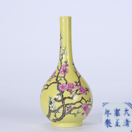 A yellow-glazed vase with floral design in Yongzheng Period, Qing Dynasty