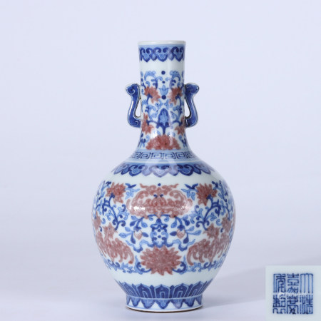 Qing Jiaqing blue and white glaze red-wrapped lotus and phoenix pattern double ear vase